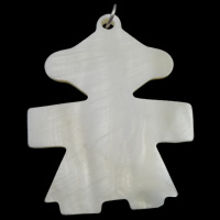 Natural Freshwater Shell Pendants, with iron ring, Bear, white, 41x55x3mm, Hole:Approx 5mm, Sold By PC