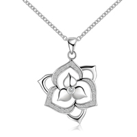 Brass Cubic Zirconia Necklace, Flower, real silver plated, oval chain & with cubic zirconia, 32x23mm, Sold Per Approx 18 Inch Strand