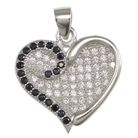 Cubic Zirconia Micro Pave Sterling Silver Pendant, 925 Sterling Silver, Heart, micro pave cubic zirconia, 16.5x17x2mm, Hole:Approx 3x3.5mm, Sold By PC