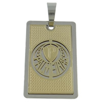 Stainless Steel Pendants, Rectangle, plated, two tone, 26x40x2mm, Hole:Approx 8x12mm, Sold By PC