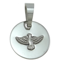 Stainless Steel Pendants, Flat Round, plated, more colors for choice, 21x2mm, Hole:Approx 8x12mm, Sold By PC