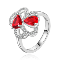 comeon® Finger Ring, Brass, Flower, real silver plated, with cubic zirconia, 15x18mm, US Ring Size:8, Sold By PC