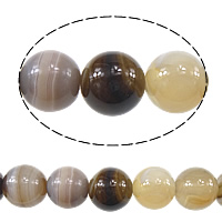 Natural Lace Agate Beads, Round, coffee color, 12mm, Hole:Approx 1mm, Approx 32PCs/Strand, Sold Per Approx 15 Inch Strand
