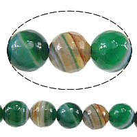 Natural Lace Agate Beads, Round, faceted, green, 8mm, Hole:Approx 1mm, Approx 48PCs/Strand, Sold Per Approx 15 Inch Strand