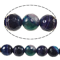 Natural Lace Agate Beads, Round, faceted, multi-colored, 10mm, Hole:Approx 1mm, Approx 36PCs/Strand, Sold Per Approx 14 Inch Strand