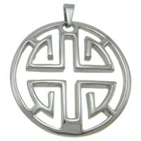 Stainless Steel Pendants, Flat Round, original color, 40x46x5mm, Hole:Approx 3x5mm, Sold By PC