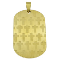 Stainless Steel Pendants, Rectangle, gold color plated, 28x51x3mm, Hole:Approx 4x6mm, Sold By PC
