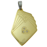 Stainless Steel Pendants, Poker, plated, with rhinestone & two tone, 23x46x3mm, Hole:Approx 4x8mm, Sold By PC
