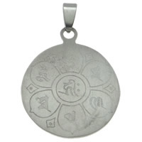 Stainless Steel Pendants, Flat Round, original color, 29x43x2mm, Hole:Approx 4x8mm, Sold By PC