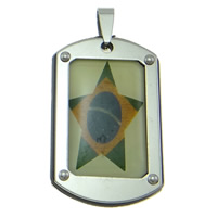 Stainless Steel Pendants, Rectangle, different designs for choice & epoxy sticker, 26x50x4mm, Hole:Approx 3-8mm, Sold By PC