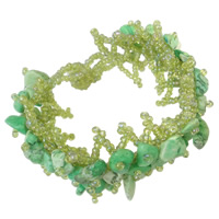 Green Quartz Bracelet, with Crystal Thread & Glass Seed Bead, natural, 36x8mm, Sold Per Approx 7 Inch Strand