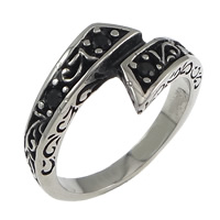 Rhinestone Stainless Steel Finger Ring, with rhinestone & blacken, 12mm, Size:10, Sold By PC
