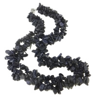 Blue Goldstone Necklace, iron lobster clasp, with 5cm extender chain, Length:Approx 19.5 Inch, Sold By Strand