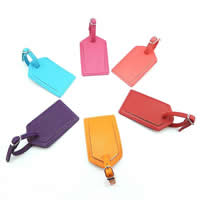 Luggage Tag, PU, with Zinc Alloy, Rectangle, silver color plated, more colors for choice, 100x65mm, Sold By PC