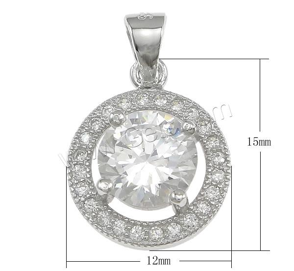 Cubic Zirconia Micro Pave Sterling Silver Pendant, 925 Sterling Silver, Flat Round, plated, Customized & micro pave cubic zirconia, more colors for choice, 12x15x5mm, Hole:Approx 3.5x4mm, Sold By PC