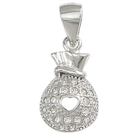 Cubic Zirconia Micro Pave Sterling Silver Pendant, 925 Sterling Silver, Money Bag, micro pave cubic zirconia, 8x14x3mm, Hole:Approx 3.5x4mm, Sold By PC