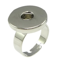 Zinc Alloy Noosa Chunk Ring Setting, Flat Round, platinum color plated, 19mm, 6mm, Size:9, Sold By PC
