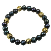 Cultured Freshwater Pearl Brass Bracelet, with Brass, Potato, black, 7-8mm, Length:Approx 7.5 Inch, Sold By Strand