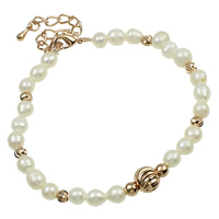 Cultured Freshwater Pearl Brass Bracelet, brass lobster clasp, with 5.5cm extender chain, Potato, natural, white, 5-7mm, Sold Per Approx 7.5 Inch Strand