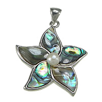 Zinc Alloy Shell Pendants, with pearl & Abalone Shell, Flower, platinum color plated, nickel, lead & cadmium free, 36x40x7mm, Hole:Approx 5x6mm, Sold By PC