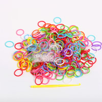Loom Bands, Rubber, with Plastic, attachted crochet hook & with plastic S clip & DIY & for children, mixed colors, 9x15mm, 300PCs/Bag, Sold By Bag