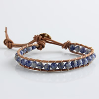 Wrap Bracelets, leather cord, with Blue Spot & Zinc Alloy, gold color plated, 6mm, Sold Per Approx 11 Inch Strand