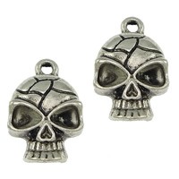 Zinc Alloy Pendant Rhinestone Setting, Skull, plated, more colors for choice, nickel, lead & cadmium free, 12x18x4.5mm, Hole:Approx 2mm, Inner Diameter:Approx 4mm, Sold By PC