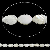 Seashell Beads, Natural Seashell, Leaf, white, 9x12x4mm, Hole:Approx 1mm, Length:Approx 15.7 Inch, 34PCs/Strand, Sold By Strand