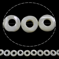 Seashell Beads, Natural Seashell, Donut, white, Hole:Approx 1mm, Length:Approx 15.7 Inch, 20PCs/Strand, Sold By Strand