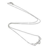 Rhinestone Brass Necklace, Heart, plated, round link chain & with rhinestone, more colors for choice, nickel, lead & cadmium free, Length:Approx 17 Inch, Sold By Strand