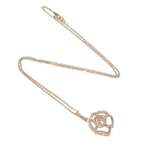 Rhinestone Brass Necklace, Flower, plated, round link chain & with rhinestone, more colors for choice, nickel, lead & cadmium free, 16x18.5x4mm, 1.5x1.5mm, Length:Approx 16 Inch, Sold By Strand