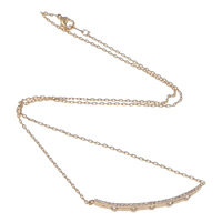 Rhinestone Brass Necklace, real rose gold plated, oval chain & with rhinestone, nickel, lead & cadmium free, 42x3x3mm, 2x1mm, Length:Approx 16 Inch, Sold By Strand