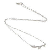 Rhinestone Brass Necklace, Leaf, plated, oval chain & with rhinestone, more colors for choice, nickel, lead & cadmium free, 24x8x2mm, 2x1.5mm, Length:Approx 16 Inch, Sold By Strand