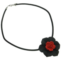 Acrylic Nylon Coated Rubber Rope Necklace, with Nylon Coated Rubber Rope & Velveteen, zinc alloy lobster clasp, with 3cm extender chain, Flower, rubberized & two tone, 57x52x21mm, Length:17.5 Inch, Sold By Strand