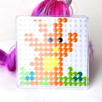 Hama Fuse Beads Pegboard, Plastic, Square, 5mm DIY fuse pegboards & with fuse beads template & transparent, white, 75x75mm, Sold By PC