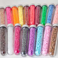 Hama Fuse Beads, Plastic, with Glass & Aluminum, Column, platinum color plated, mixed colors, 5mm, Approx 300PCs/Box, Sold By Box