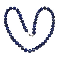 Gemstone Necklaces, Natural Lapis Lazuli, 8mm, Length:17 Inch, Sold By Strand