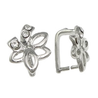 Zinc Alloy Pinch Bail, Flower, plated, with rhinestone, more colors for choice, nickel, lead & cadmium free, Sold By PC