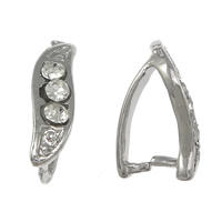 Zinc Alloy Pinch Bail, Brass, plated, with rhinestone, more colors for choice, 4x12x1.5mm, 1mm, Sold By PC