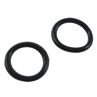 Rubber Stopper Beads, Donut, black, 15x15x1.5mm, Sold By PC