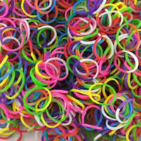 Loom Bands, Rubber, two tone, mixed colors, 1mm, Approx 14000PCs/KG, Sold By KG