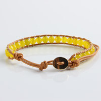Wrap Bracelets, Wax, with Dyed Marble & Zinc Alloy, gold color plated, faceted, yellow, 6mm, Length:Approx 11 Inch, Sold By Strand