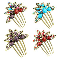 Decorative Hair Combs, Zinc Alloy, with Resin, antique bronze color plated, faceted & with rhinestone, mixed colors, nickel, lead & cadmium free, 100x85mm, Sold By PC