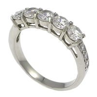 Stainless Steel Glass Pearl Finger Ring, with cubic zirconia, original color, 4mm, Size:8, Sold By PC