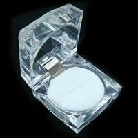 Organic Glass Single Ring Box, with Velveteen, Square, clear, 45x45mm, 768PCs/Lot, Sold By Lot