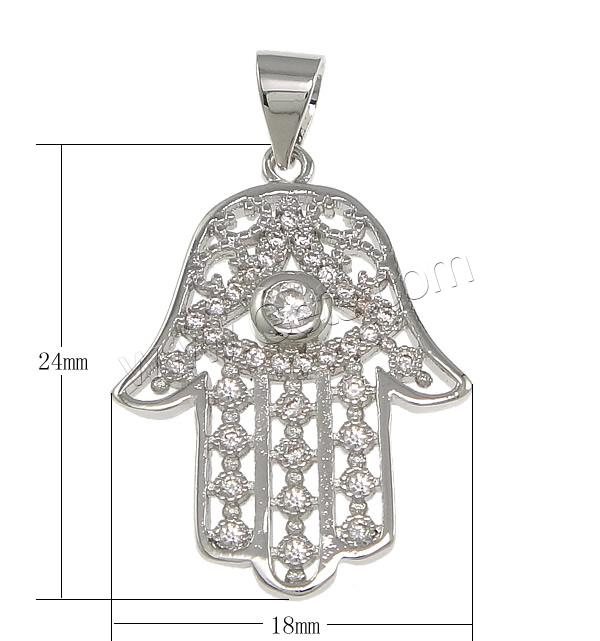 Cubic Zirconia Micro Pave Sterling Silver Pendant, 925 Sterling Silver, Hamsa, plated, micro pave cubic zirconia, more colors for choice, 18x24x3mm, Hole:Approx 3.5x4mm, Sold By PC