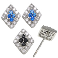 Cubic Zirconia Micro Pave Sterling Silver Earring, 925 Sterling Silver, Rhombus, without earnut & micro pave cubic zirconia & hollow, more colors for choice, 8x10x15.5mm, 0.8mm, Sold By Pair