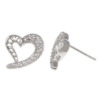 Cubic Zirconia Micro Pave Sterling Silver Earring, 925 Sterling Silver, Heart, plated, without earnut & micro pave cubic zirconia & hollow, more colors for choice, 11x10x13mm, 0.8mm, Sold By Pair