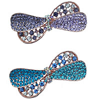 Hair Barrettes, Zinc Alloy, Bowknot, rose gold color plated, with