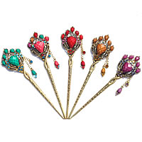 Hair Stick, Zinc Alloy, with turquoise, Flower, antique gold color plated, faceted & with rhinestone, mixed colors, nickel, lead & cadmium free, 160x38mm,40mm, Sold By PC